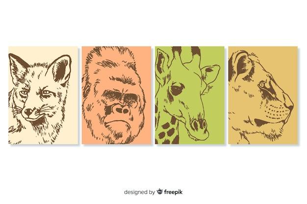 Ręcznie rysowane kolekcja kart dzikich zwierząt Darmowych Wektorów