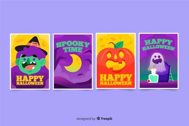 Ręcznie rysowane kolekcja kart halloween Darmowych Wektorów