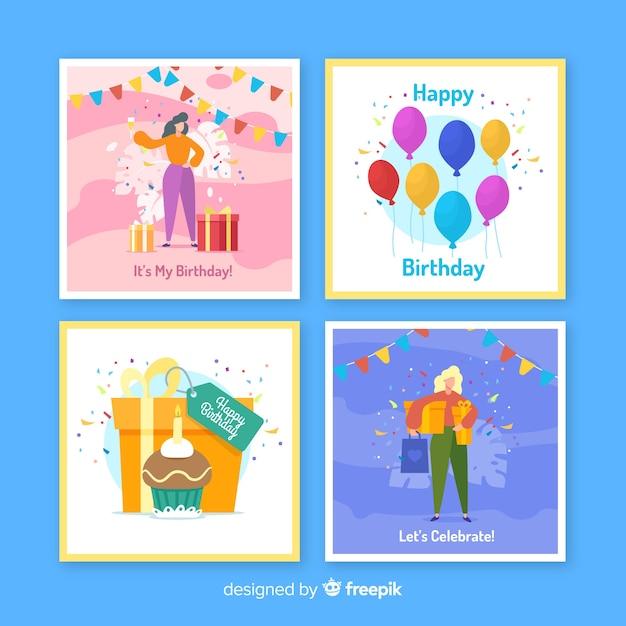 Ręcznie Rysowane Kolekcja Kart Urodzinowych Darmowych Wektorów