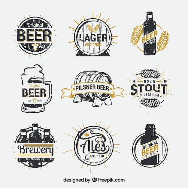 Ręcznie Rysowane Kolekcja Logo Piwa Darmowych Wektorów