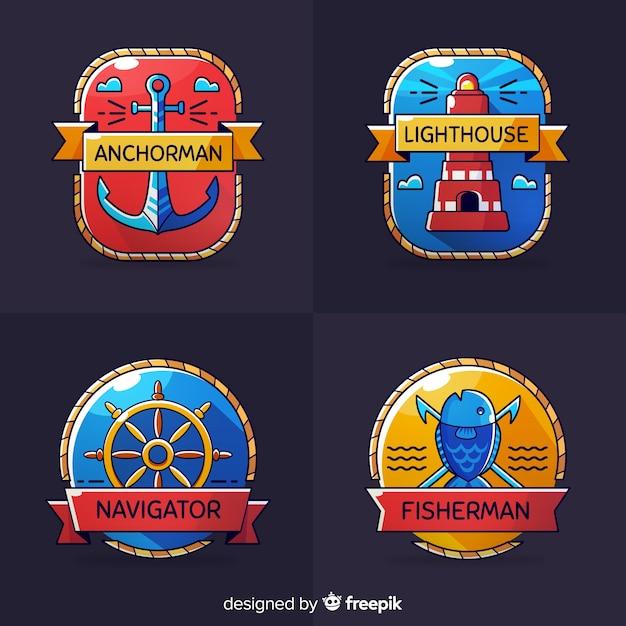 Ręcznie Rysowane Kolekcja Morskie Odznaka Darmowych Wektorów
