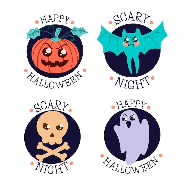 Ręcznie Rysowane Kolekcja Odznak Halloween Darmowych Wektorów