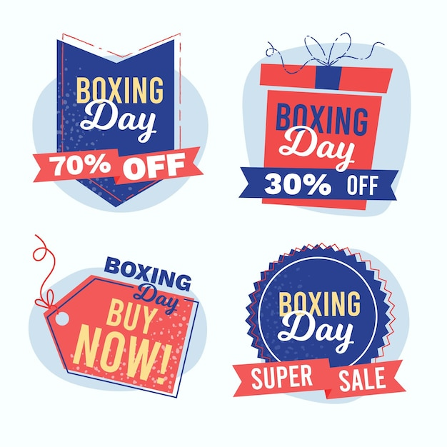 Ręcznie Rysowane Kolekcja Odznak Sprzedaż Boxing Day Darmowych Wektorów