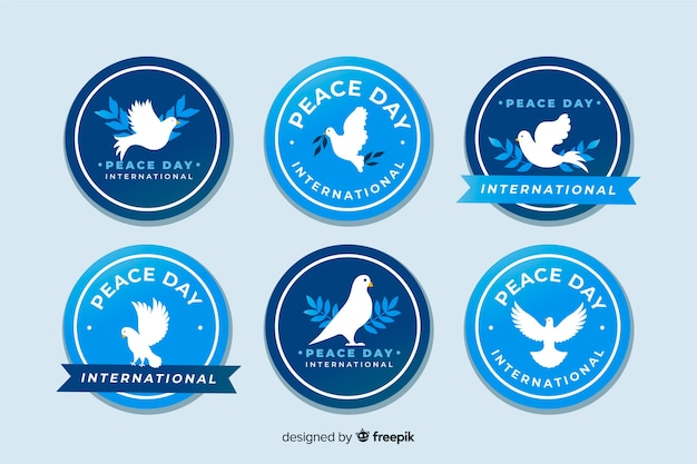Ręcznie Rysowane Kolekcja Odznaka Dzień Pokoju Darmowych Wektorów