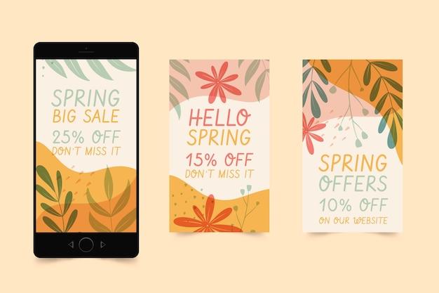 Ręcznie Rysowane Kolekcja Opowiadań Instagram Sprzedaż Wiosenna Darmowych Wektorów