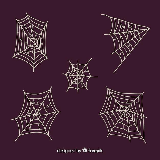 Ręcznie rysowane kolekcja pajęczyna Darmowych Wektorów