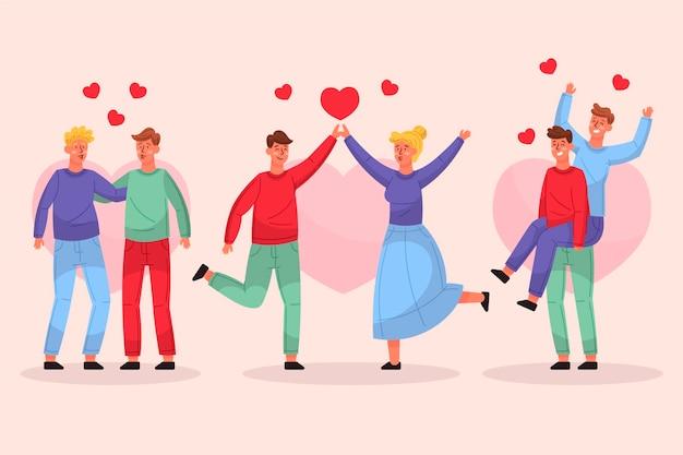 Ręcznie Rysowane Kolekcja Para Walentynki Darmowych Wektorów