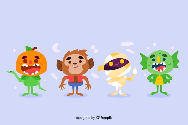 Ręcznie rysowane kolekcja postaci halloween Darmowych Wektorów