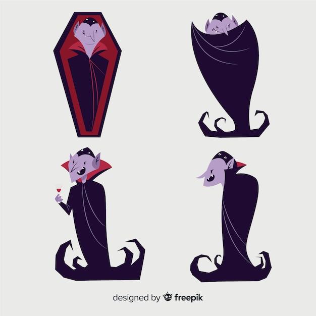 Ręcznie rysowane kolekcja postaci wampirów Darmowych Wektorów