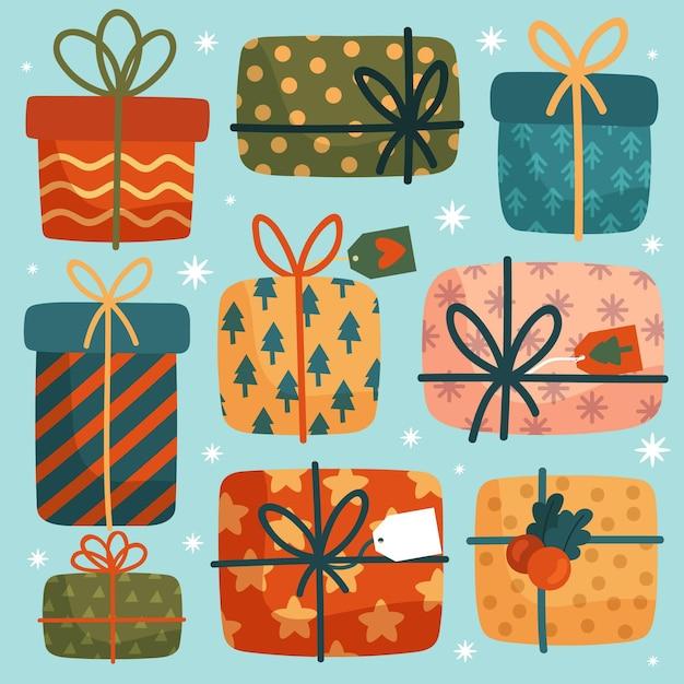 Ręcznie Rysowane Kolekcja Prezentów świątecznych Darmowych Wektorów
