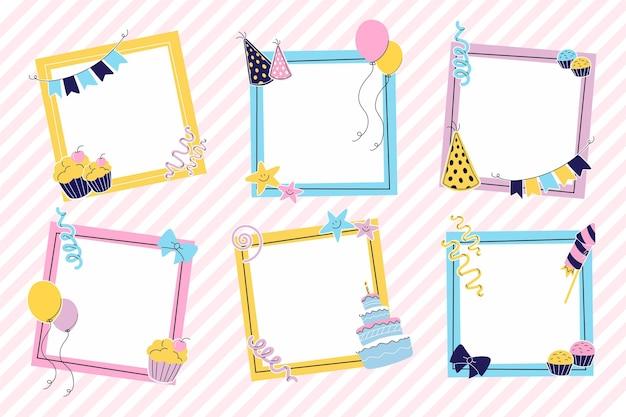 Ręcznie Rysowane Kolekcja Ramek Kolaż Urodziny Darmowych Wektorów