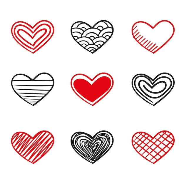 Ręcznie Rysowane Kolekcja Serca W Stylu Darmowych Wektorów