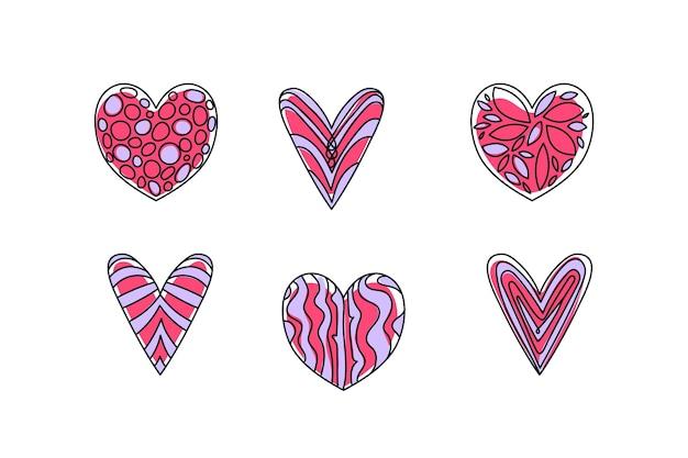 Ręcznie Rysowane Kolekcja Serca Darmowych Wektorów