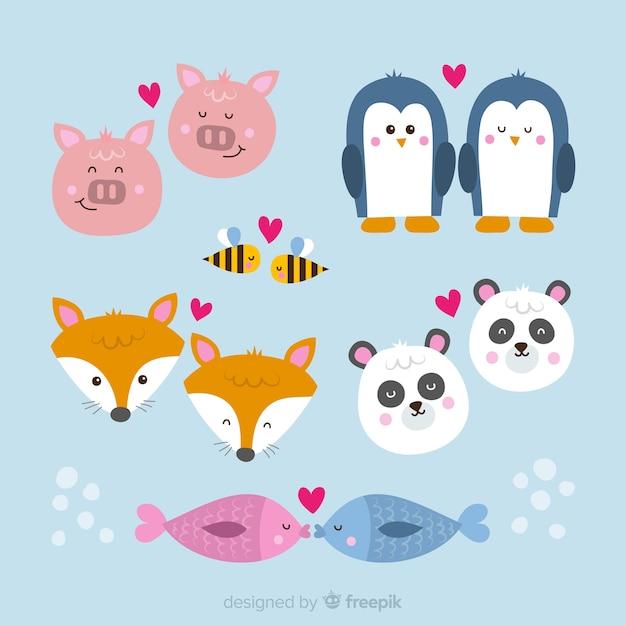 Ręcznie rysowane kolekcja valentine zwierząt para Darmowych Wektorów