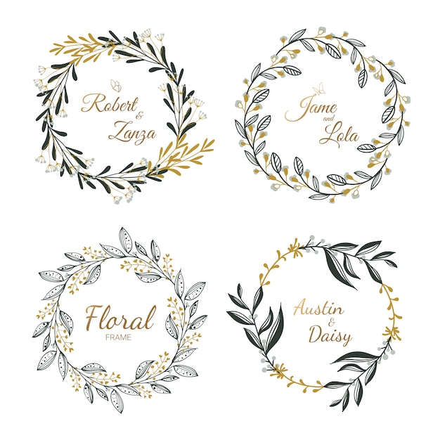 Ręcznie rysowane kolekcja wieniec kwiatowy na ślub, ślub karty. Premium Wektorów