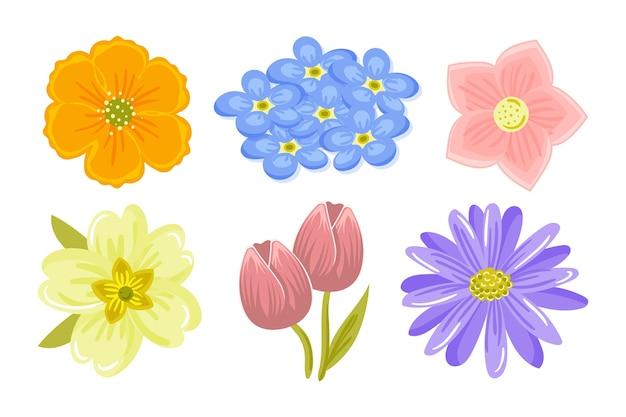 Ręcznie Rysowane Kolekcja Wiosna Kolorowy Kwiat Darmowych Wektorów