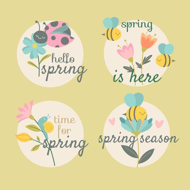 Ręcznie Rysowane Kolekcja Wiosna Znaczek Darmowych Wektorów
