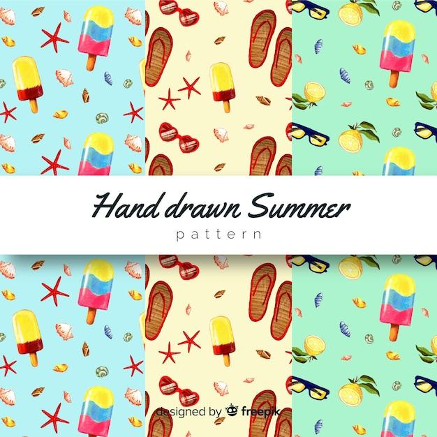 Ręcznie rysowane kolekcja wzór lato Darmowych Wektorów