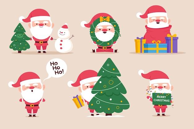 Ręcznie Rysowane Kolekcja Znaków świętego Mikołaja Premium Wektorów