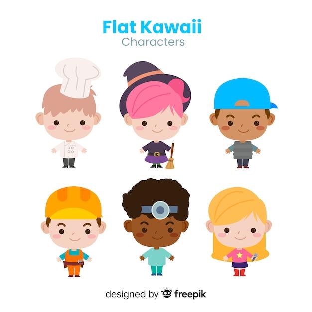 Ręcznie rysowane kolekcja znaków zawodowych kawaii Darmowych Wektorów