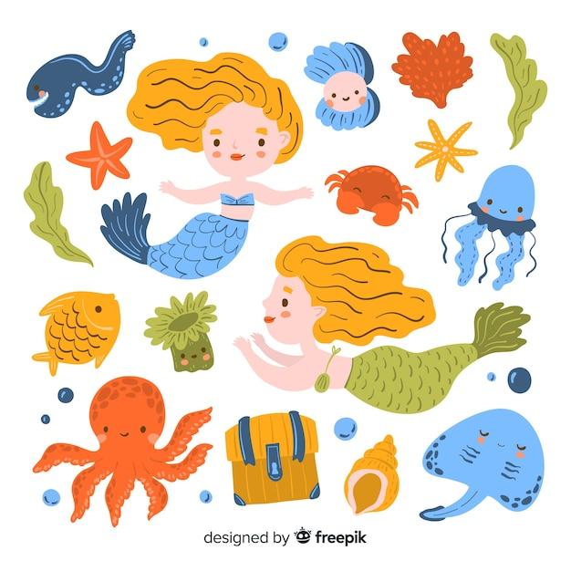 Ręcznie rysowane kolekcję znaków życia morskiego Darmowych Wektorów