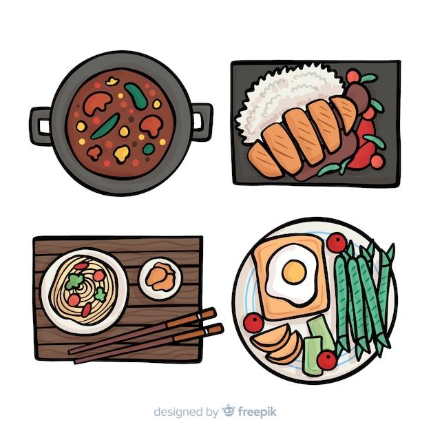 Ręcznie rysowane kolekcji danie żywności Darmowych Wektorów