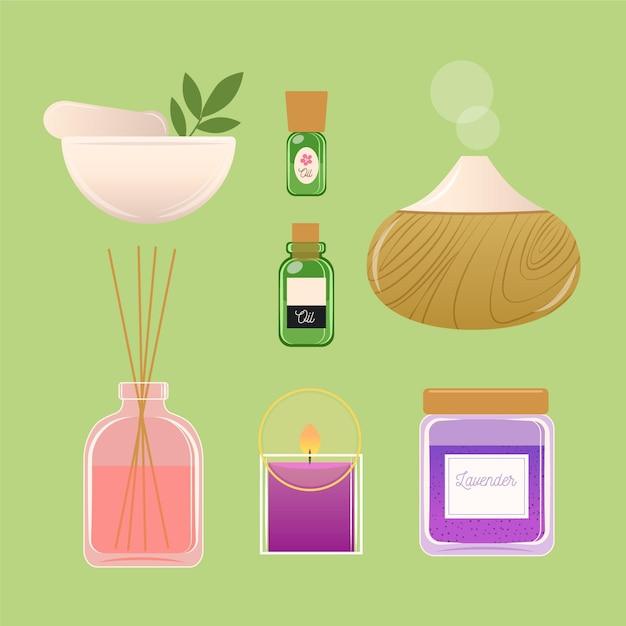 Ręcznie Rysowane Kolekcji Elementów Aromaterapii Darmowych Wektorów