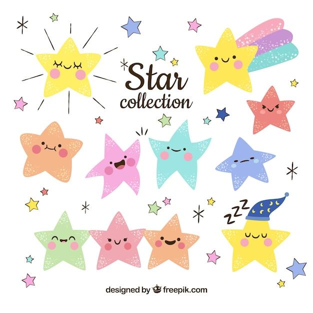Ręcznie rysowane kolekcji gwiazd Darmowych Wektorów