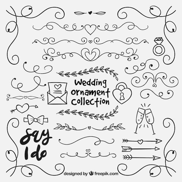 Ręcznie Rysowane Kolekcji Ornament ślubny Darmowych Wektorów