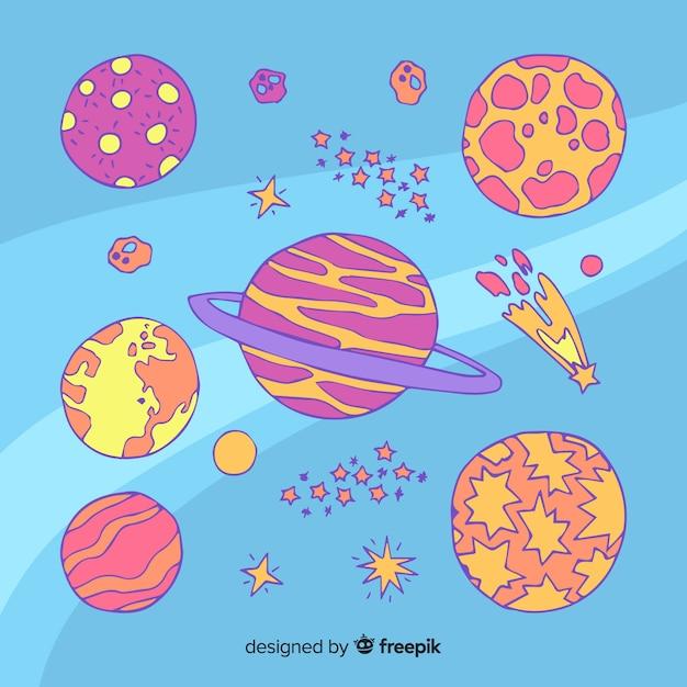Ręcznie Rysowane Kolekcji Planety W Stylu Bazgroły Darmowych Wektorów
