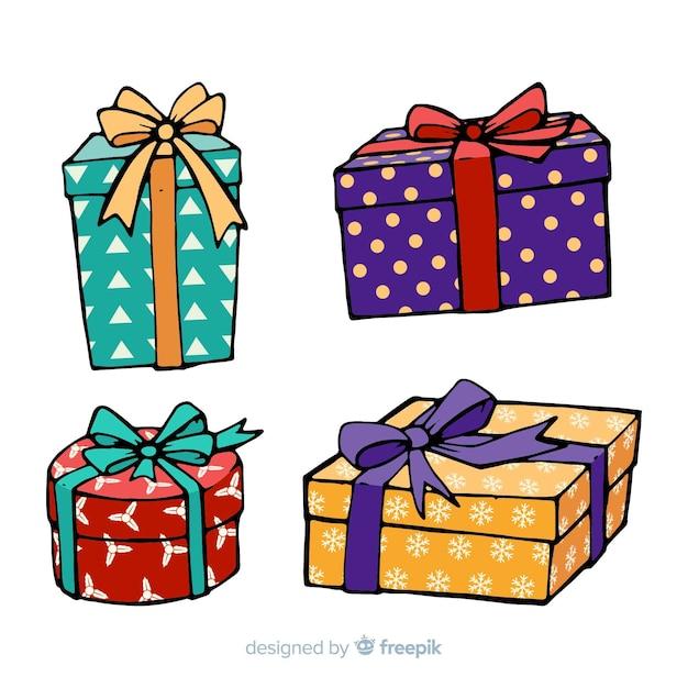 Ręcznie Rysowane Kolekcji Prezentów świątecznych Darmowych Wektorów