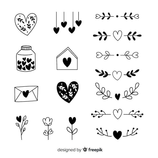 Ręcznie rysowane kolekcji serca Darmowych Wektorów
