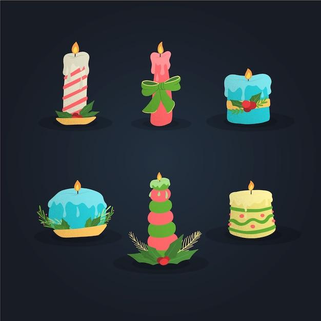 Ręcznie rysowane kolekcji świec bożego narodzenia Darmowych Wektorów