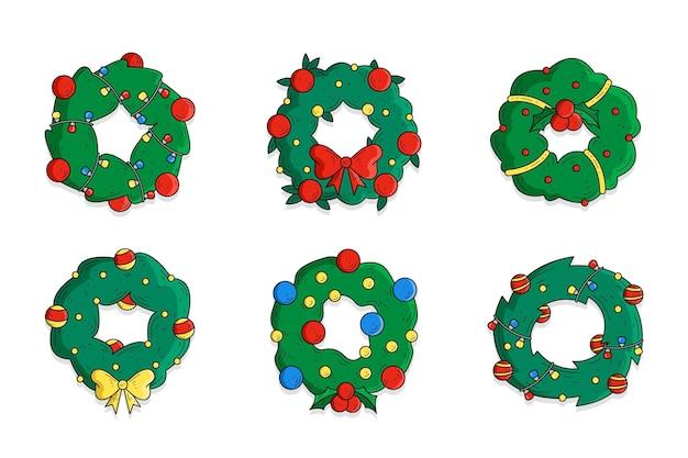 Ręcznie Rysowane Kolekcji Wieniec świąteczny Darmowych Wektorów