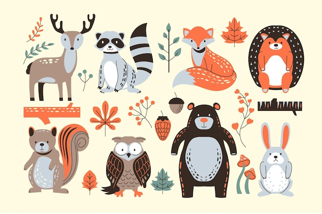 Ręcznie Rysowane Kolekcji Zwierząt Leśnych Jesień Darmowych Wektorów