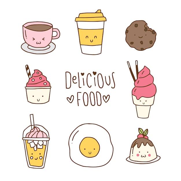 Ręcznie rysowane kolekcji żywności Premium Wektorów