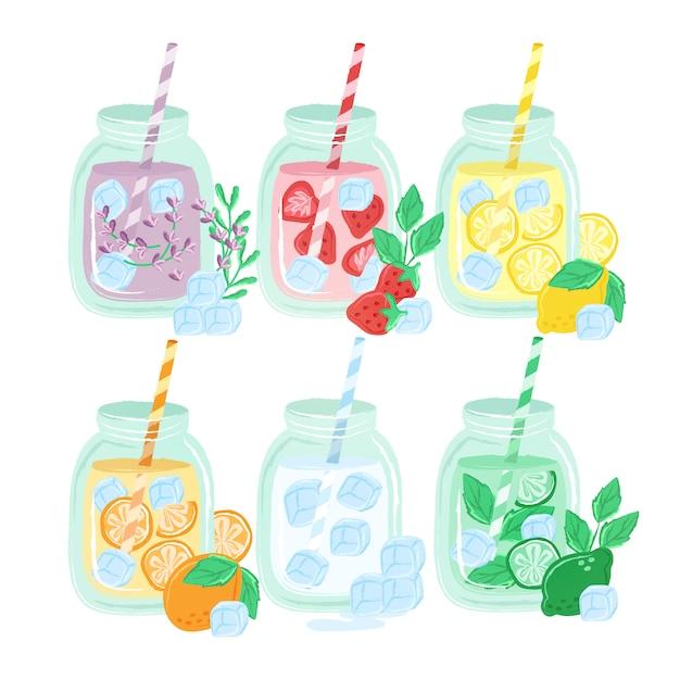 Ręcznie rysowane kolorowe napoje Premium Wektorów