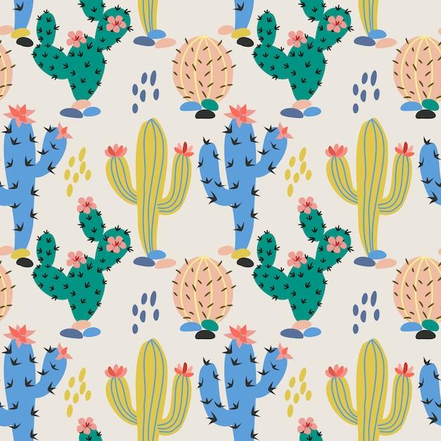 Ręcznie rysowane kolorowe tkaniny kaktus tekstylne Premium Wektorów