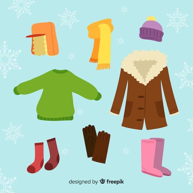Ręcznie Rysowane Kolorowe Ubrania Zimowe Darmowych Wektorów