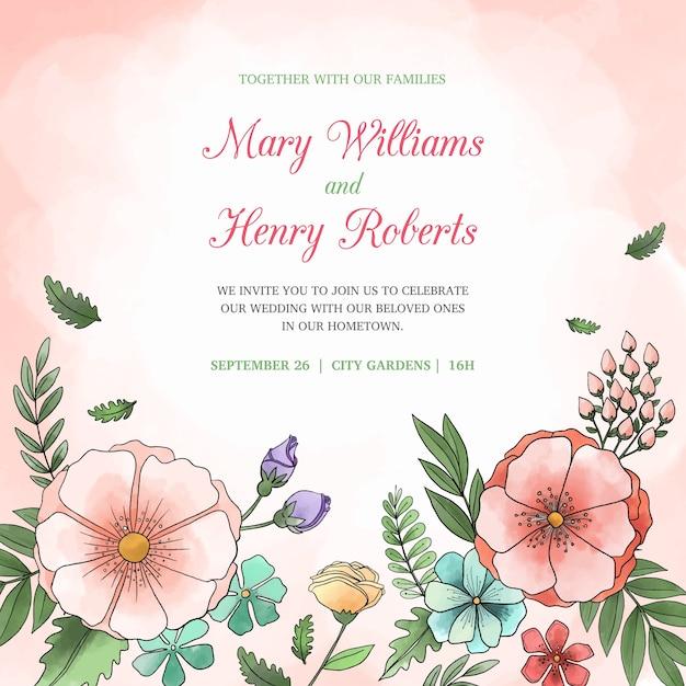 Ręcznie Rysowane Kolorowe Zaproszenia ślubne Darmowych Wektorów