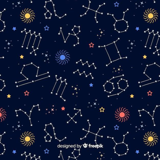 Ręcznie Rysowane Kolorowy Wzór Zodiaku Darmowych Wektorów