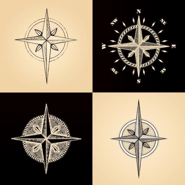 Ręcznie Rysowane Kompas Róża Wiatrów Premium Wektorów