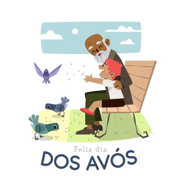 Ręcznie Rysowane Koncepcja Dia Dos Avós Darmowych Wektorów
