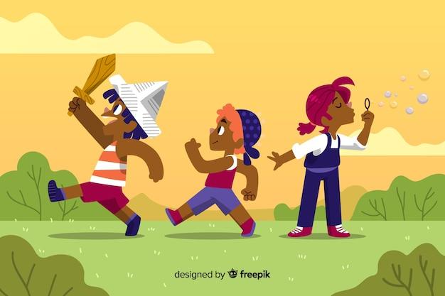 Ręcznie rysowane koncepcja dzień dla dzieci Darmowych Wektorów