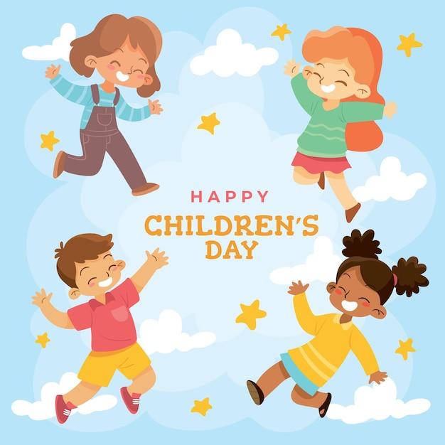 Ręcznie Rysowane Koncepcja Dzień Dziecka świata Premium Wektorów