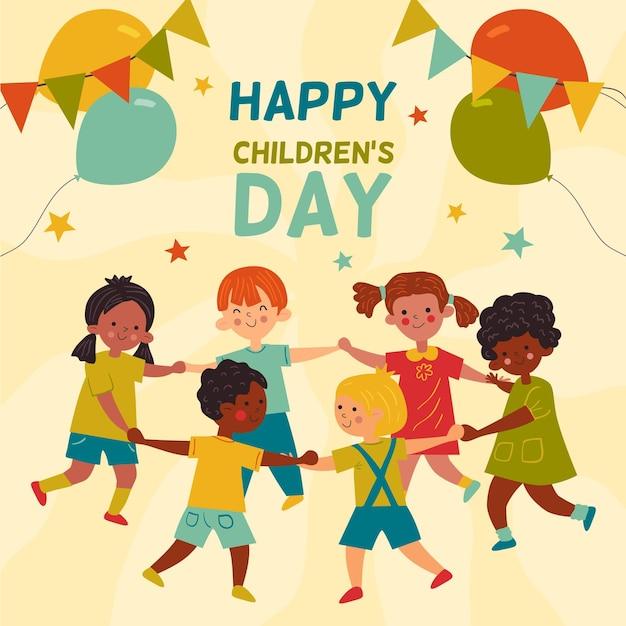 Ręcznie Rysowane Koncepcja Dzień Dziecka świata Darmowych Wektorów