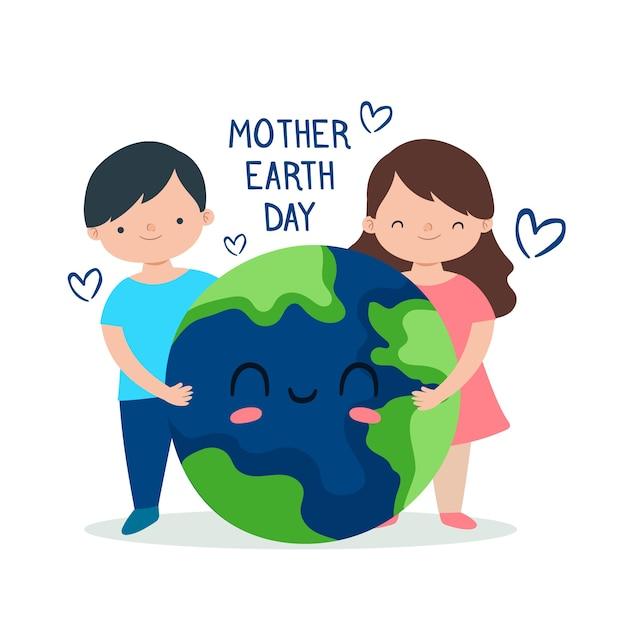 Ręcznie Rysowane Koncepcja Dzień Matki Ziemi Darmowych Wektorów