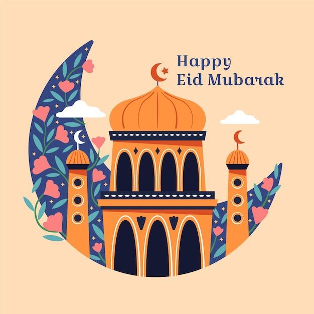Ręcznie Rysowane Koncepcja Eid Mubarak Darmowych Wektorów
