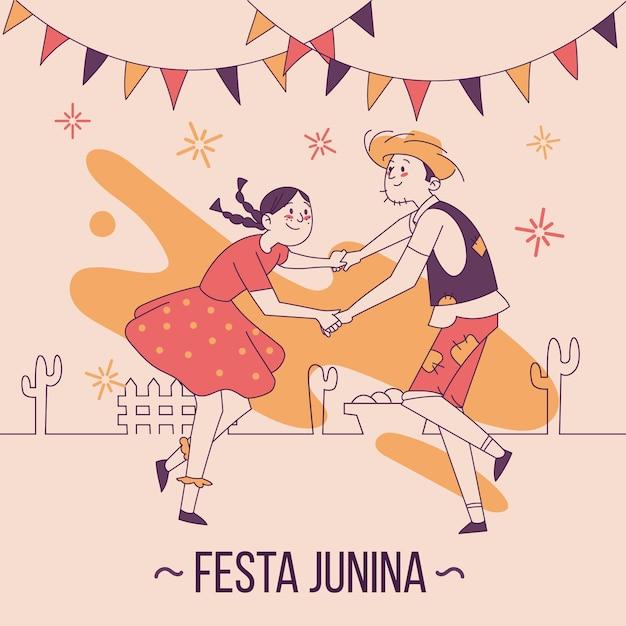 Ręcznie Rysowane Koncepcja Festa Junina Darmowych Wektorów