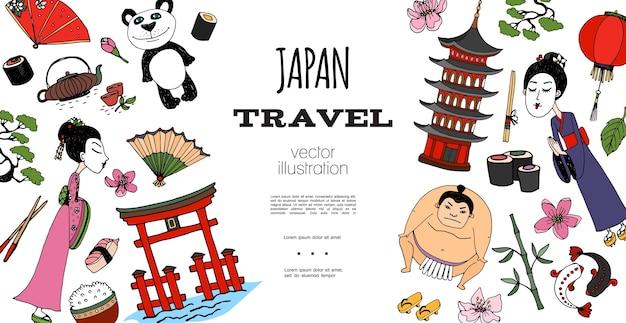 Ręcznie Rysowane Koncepcja Podróży Do Japonii Darmowych Wektorów